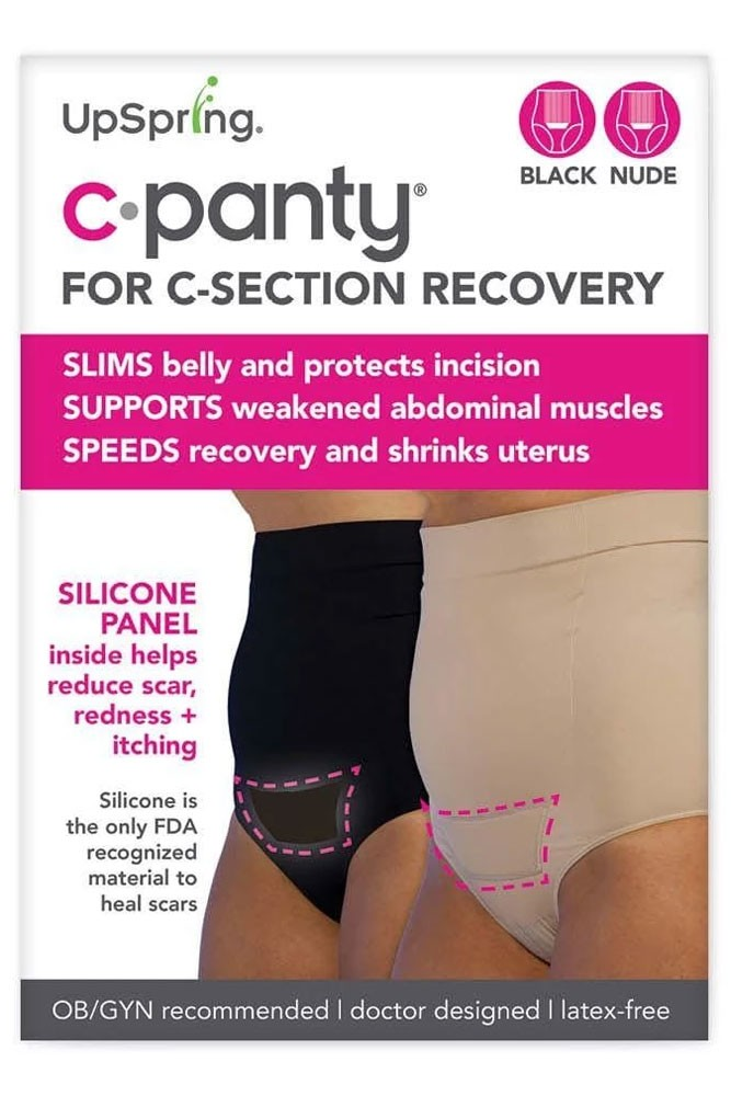 C-Panty High Waist C-Section Recovery Underwear - 2 Pack (Black & Nude)