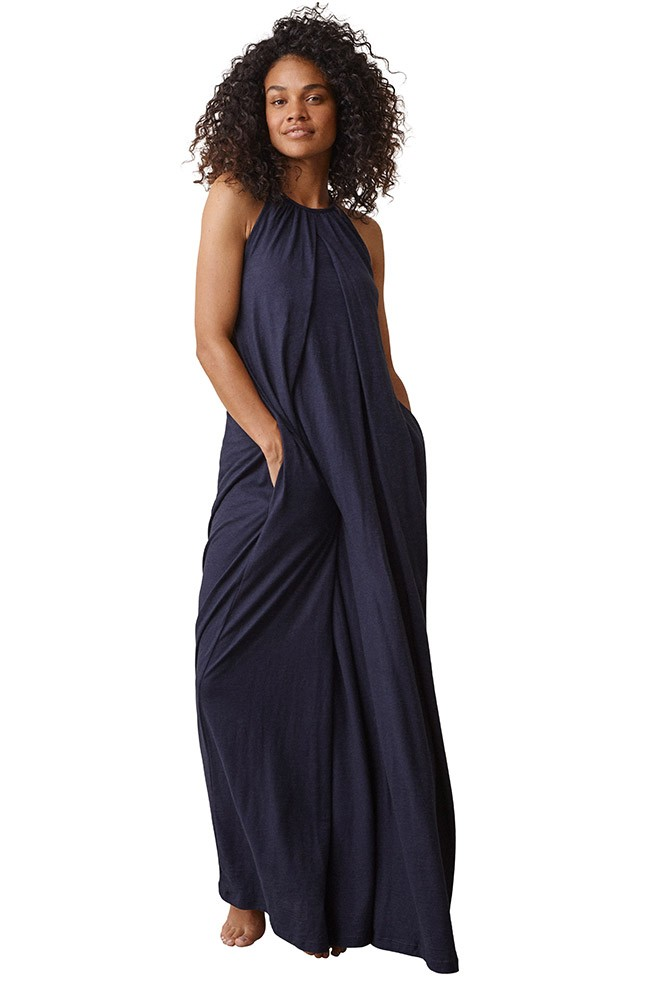 Boob Design Air Organic Cotton Halterneck Maternity & Nursing Dress (Midnight Blue)