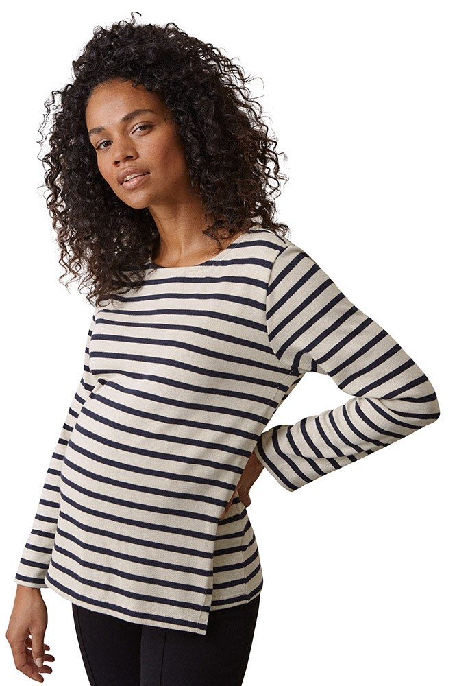 Boob Designs Organic Cotton Breton Maternity & Nursing Sweater (Tofu/Midnight Blue)