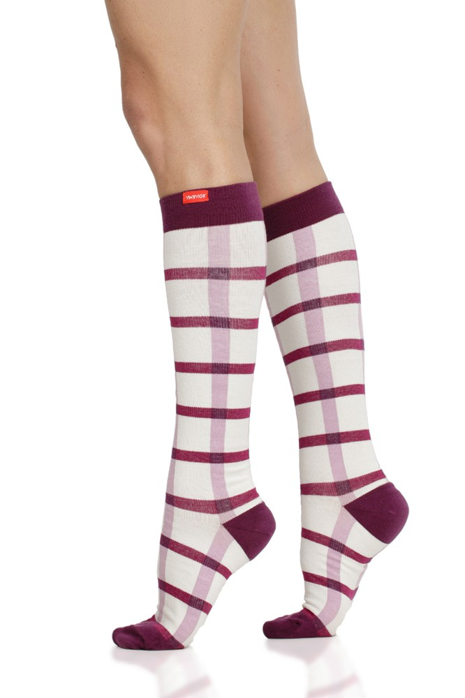 Vim & Vigr 15-20 mmHg Compression Socks - Cotton (Cream & Raspberry Box Plaid)