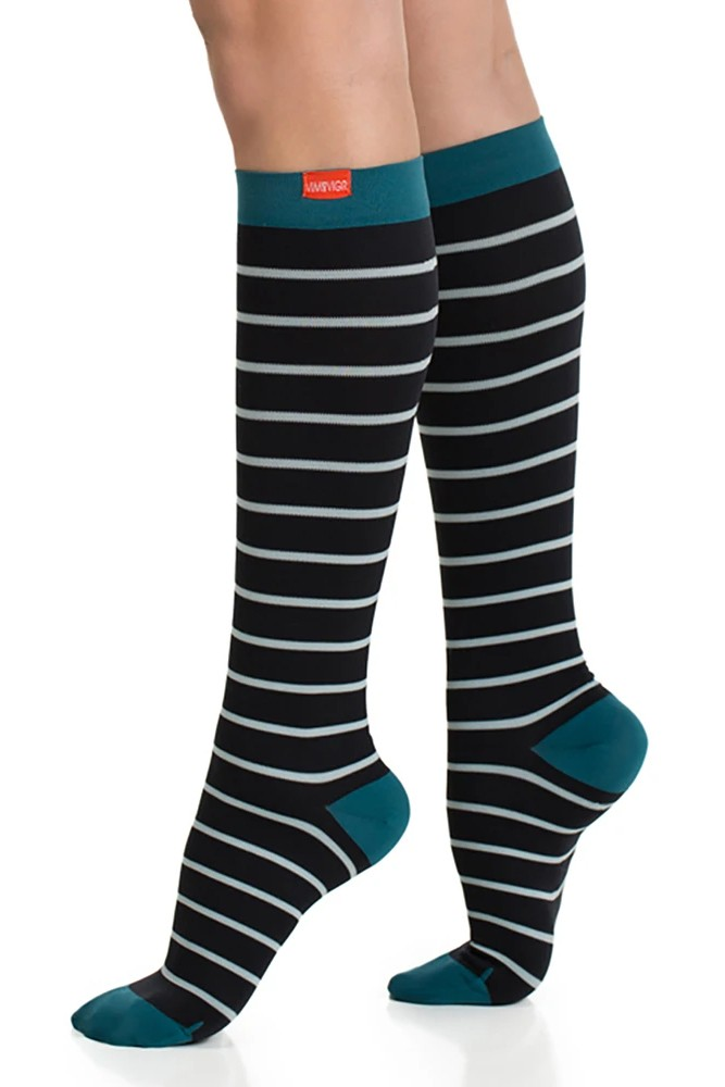 Vim & Vigr 15-20 mmHg Compression Socks - Nylon (Mint/Black & Turq Nautical Stripes)