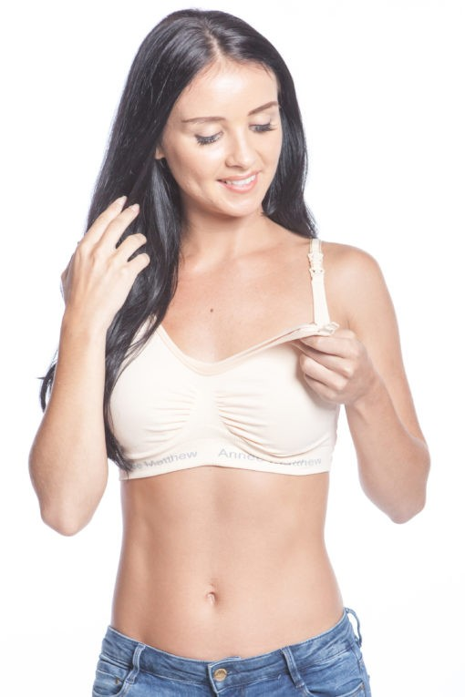 Annee Matthews Seamless Nursing & Pumping Bra with Removeable Pads (Nude)