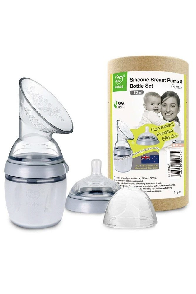 Haakaa Gen 3 Silicone Breast Pump and Bottle Set (160 ml/6 oz) (Grey)