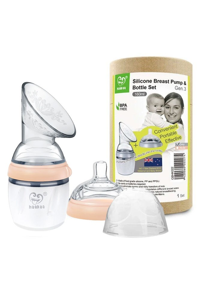 Haakaa Gen 3 Silicone Breast Pump and Bottle Set (160 ml/6 oz) (Nude)