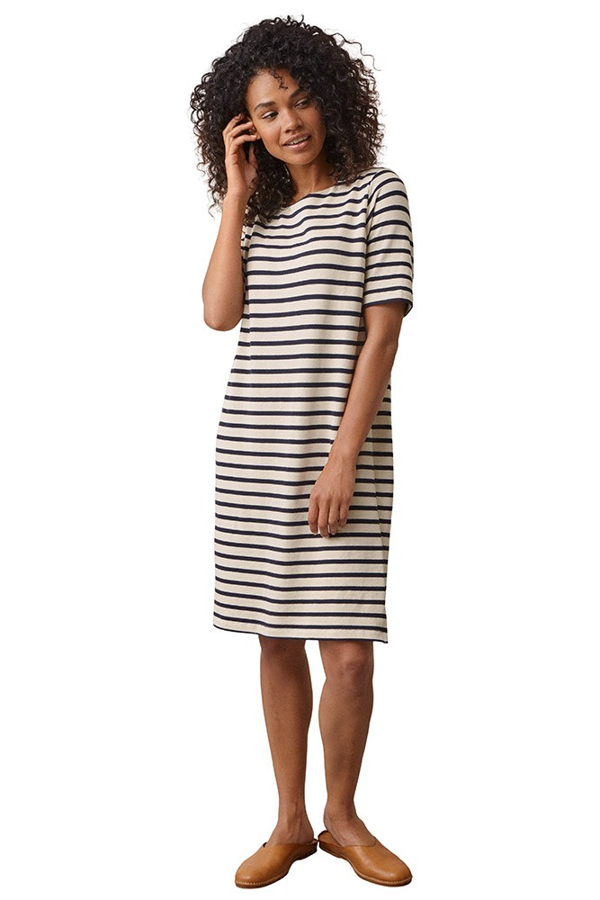 Boob Design Breton Organic Cotton Maternity & Nursing Dress (Tofu/Midnight Blue)