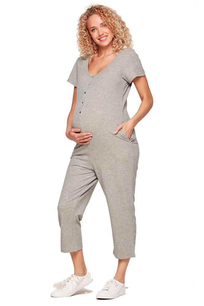 Belabumbum French Terry Henley Nursing Romper (Grey Marle)
