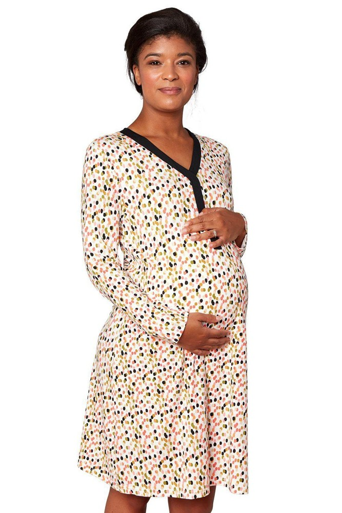 Magnetic Me™ Modal Woman's Magnetic Maternity & Nursing LS Gown (Confetti)