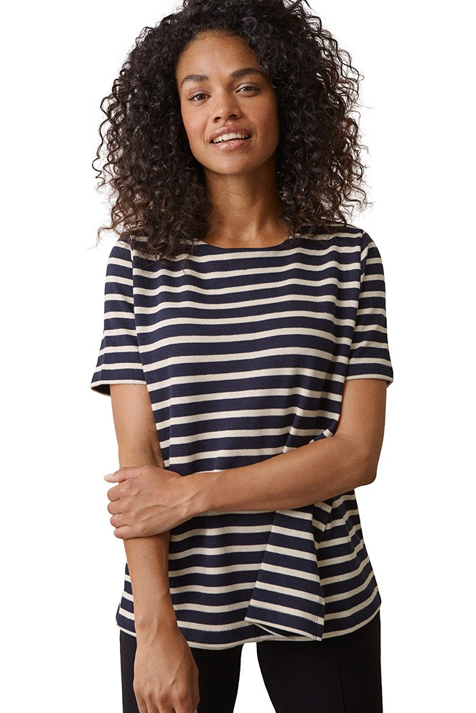 Boob Design Breton Organic Short Sleeve Nursing Top (Midnight Blue/Tofu)
