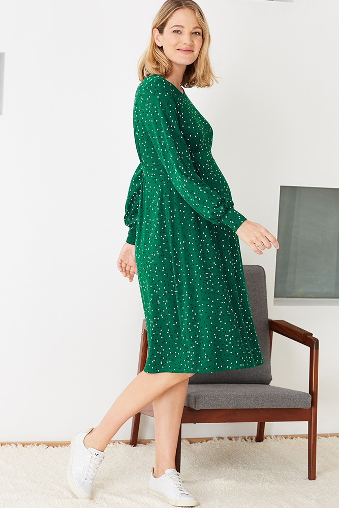 Isabella Oliver Maisy Maternity Dress (Emerald Polka)