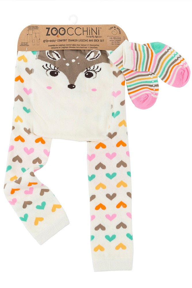 ZOOCCHINI Grip+Easy Comfort Crawler Legging + Sock Set (Fiona the Fawn)