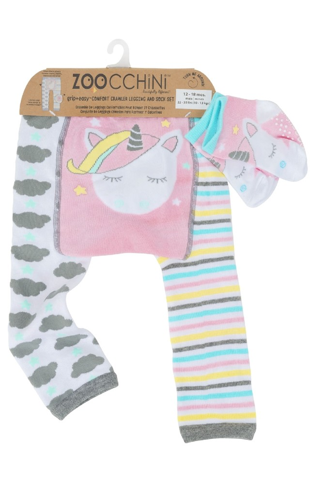 Zoocchini Grip+Easy Comfort Crawler Legging + Sock Set (Allie the Allicorn)