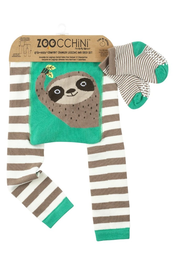 ZOOCCHINI Grip+Easy Comfort Crawler Legging + Sock Set (Silas the Sloth)