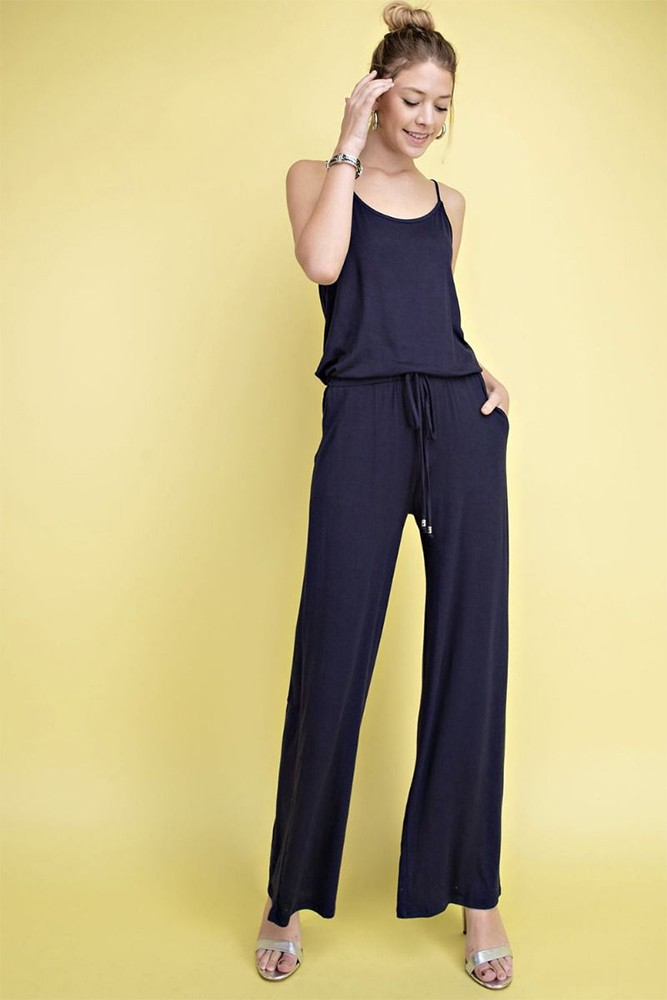 Spaghetti Strap Jumpsuit by 12 pm (Navy)