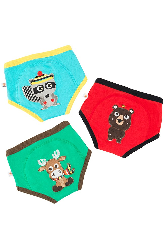 ZOOCCHINI 3-Piece Organic Potty Training Pants Set (Forest Chums)
