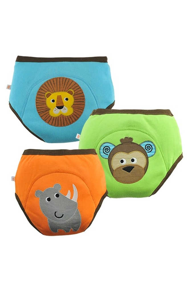 ZOOCCHINI 3-Piece Organic Cotton Potty Training Pants Set (Boys Safari Friends)