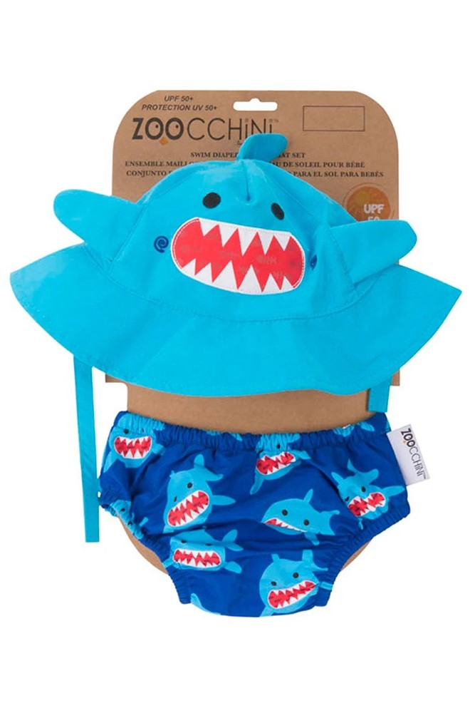 ZOOCCHINI- Swim Diaper & Sun Hat Set with UPF50+ (Sherman the Shark)