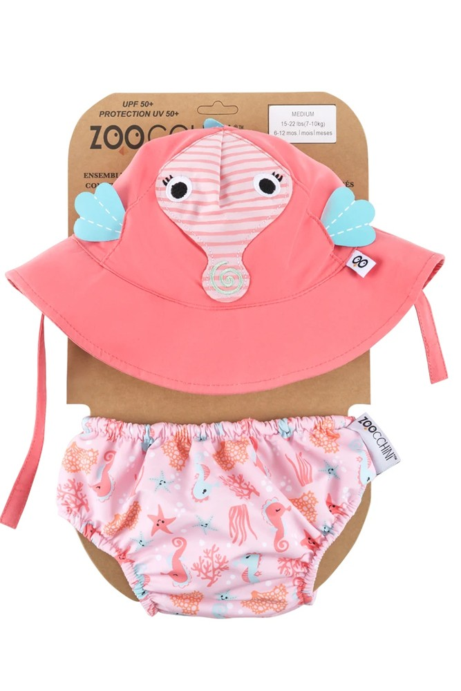 ZOOCCHINI- Swim Diaper & Sun Hat Set with UPF50+ (Seahorse)