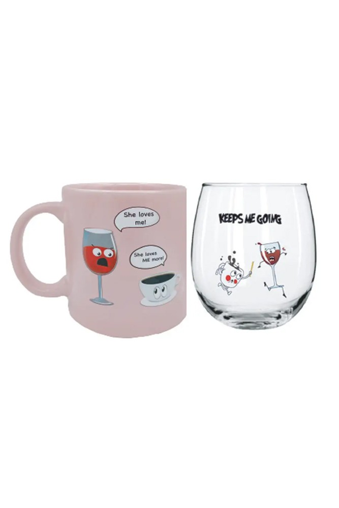Fun Wine & Coffee Morning/Night Gift Set (She Loves Me More Mug/Keeps Me Going)