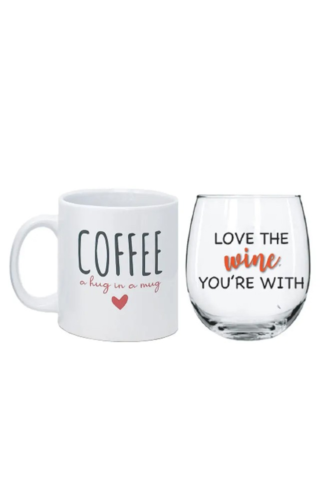 Fun Wine & Coffee Morning/Night Gift Set (Hug in a Mug and Love the Wine Your With)