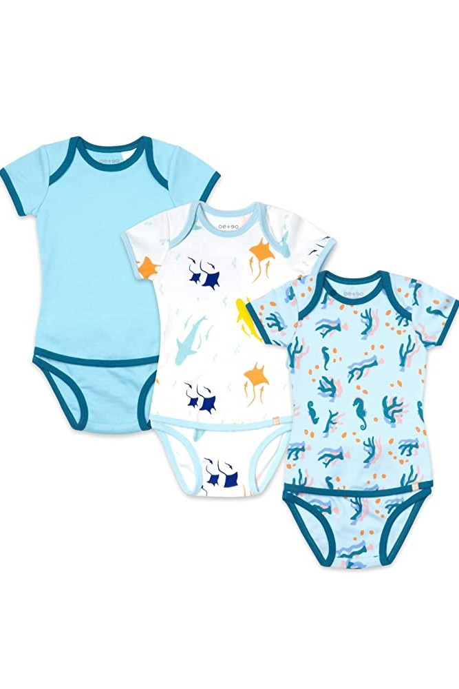 OETEO Easy-to-Wear Baby Onesies with No Snaps Bodysuits - 3 piece set (Clear Water)