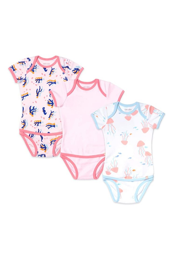 OETEO Easy-to-Wear Baby Onesies with No Snaps Bodysuits - 3 piece set (Pink Sands)