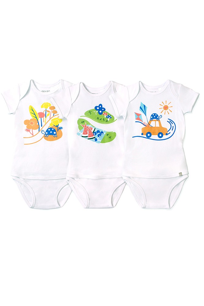 OETEO Easy-to-Wear Baby Onesies with No Snaps Bodysuits - 3 piece set (Road Trippin')