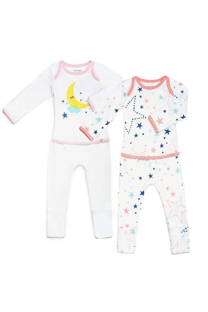 OETEO Easy-To-Wear Baby Romper with Convertible Footies and Mittens - 2 pack (Starry Gaze Pink)