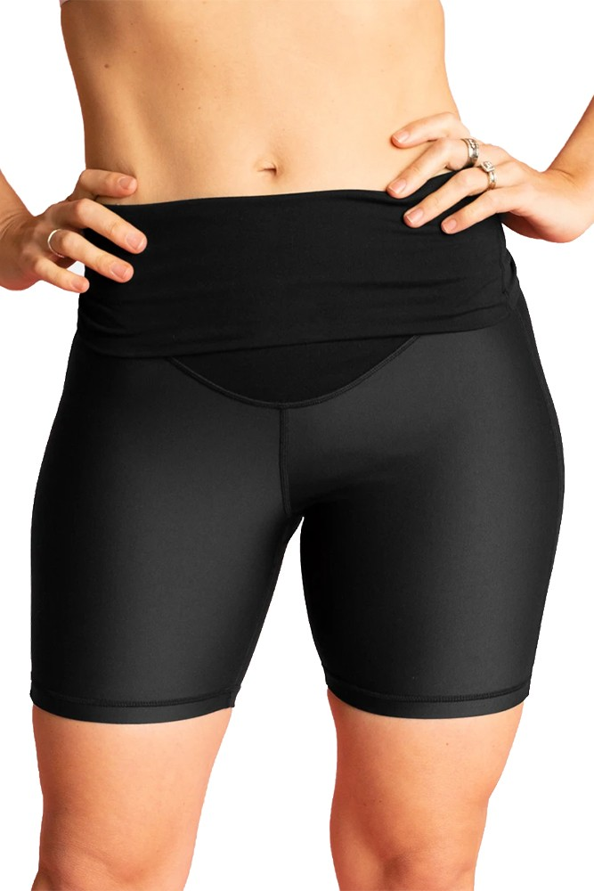 Cadenshae High Waisted Bike Shorts (Black)
