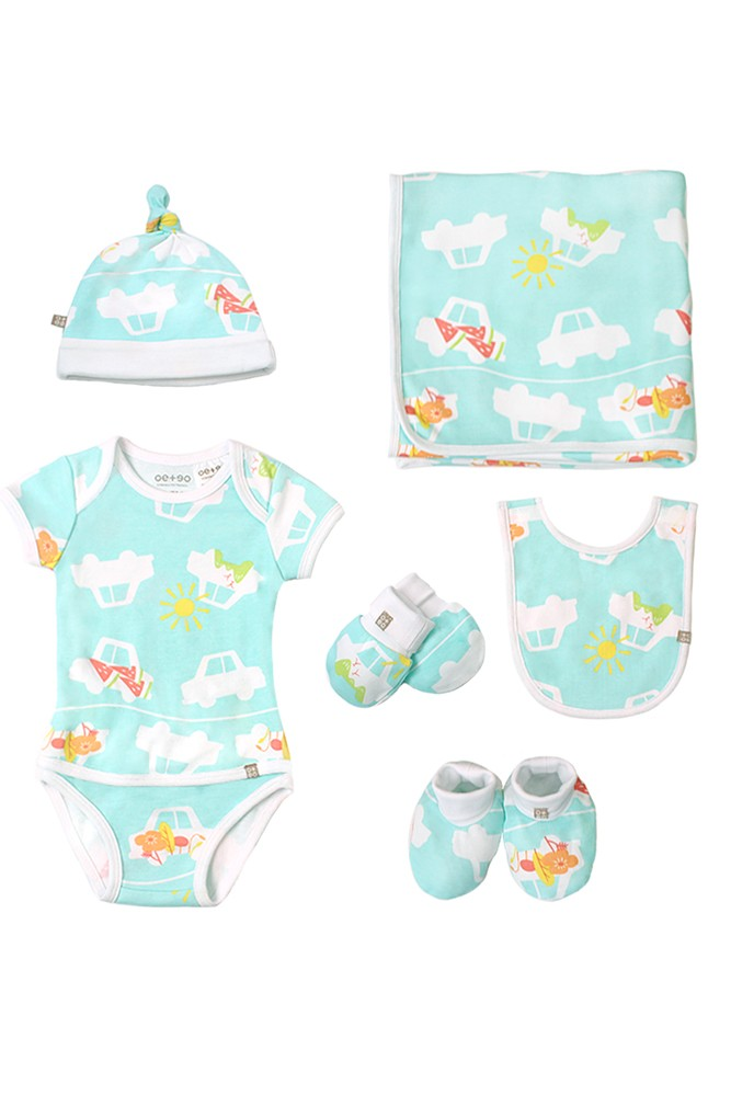 OETEO 6-Piece Newborn Layette Welcome Set (Road Trippin' Green)