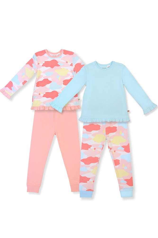 OETEO Toddler 4-Piece Jammies Set (Army Daze Pink)