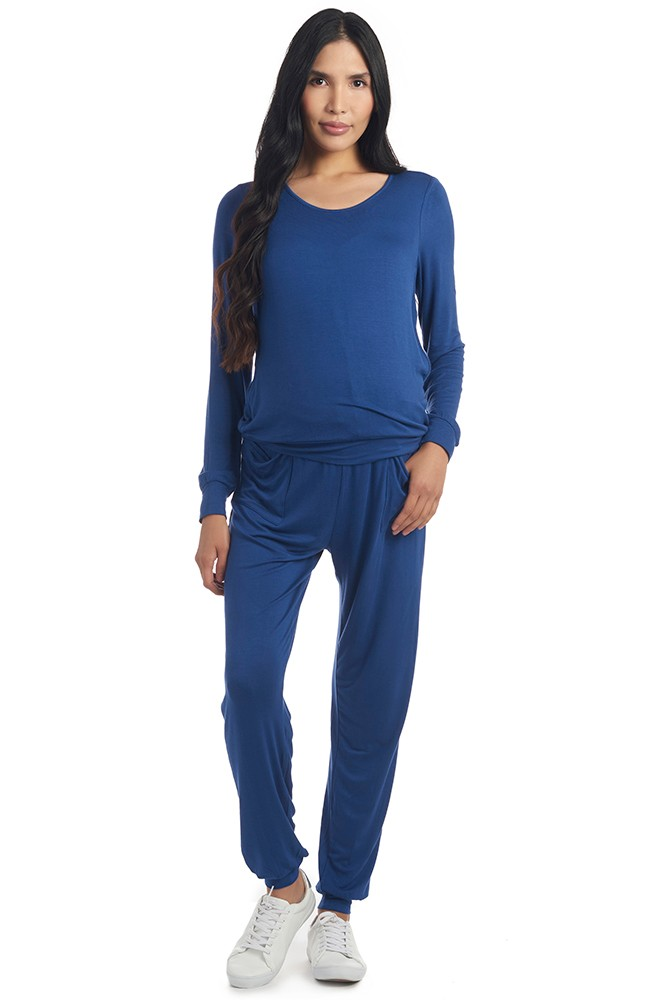 Whitney 2 pc. Cozy Maternity & Nursing Set (Denim Blue Knit Jersey)