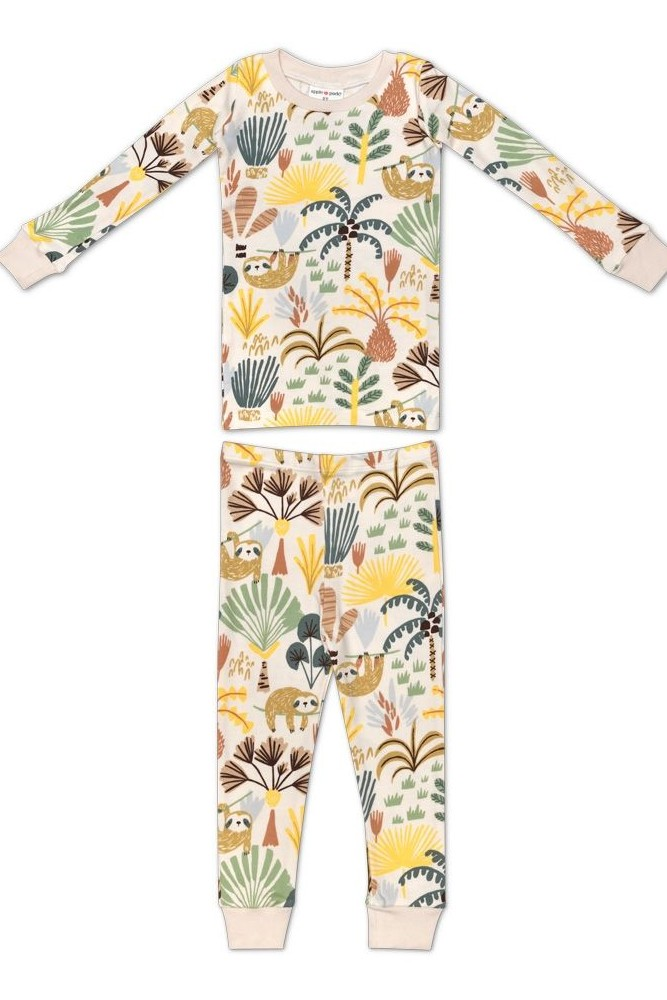 Apple Park Organic Cotton Pajama Set (Sloth)