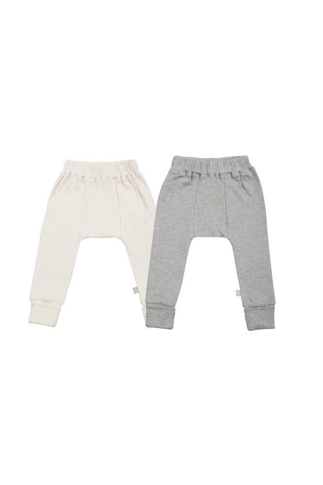 Finn + Emma Basics Organic Cotton Pants - 2 Pack (Ivory & Grey)