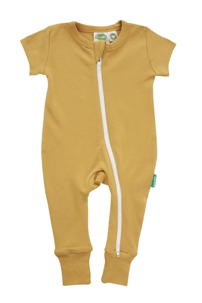 Parade Organics 2-Way Zip Organic Romper - Short Sleeve (Ochre)