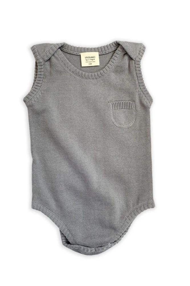 Viverano Organics Milan Organic Cotton Knit Bodysuit - Sleeveless (Grey)
